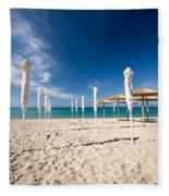 Sandy Beach Umbrellas Fleece Blanket