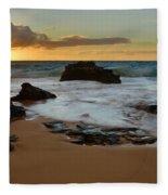 Sandy Beach Sunrise 7 - Oahu Hawaii Fleece Blanket