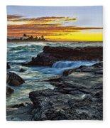 Sandy Beach Sunrise Fleece Blanket