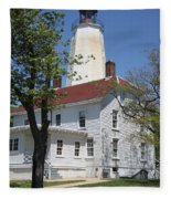 Sandy Hook Lighthouse Iv Fleece Blanket