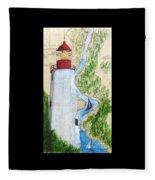 Sandy Hook Lighthouse Nj Chart Map Art Peek Fleece Blanket