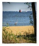 Sandy Pt Shoal Lighthouse And Blue Heron Fleece Blanket
