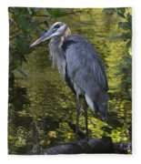 Sanibel Great Blue Heron Fleece Blanket