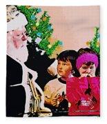 Santa And The Kids Fleece Blanket