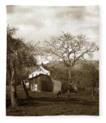Santa Barbara Mission California Circa 1890 Fleece Blanket