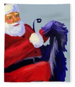 Santa Blue Fleece Blanket