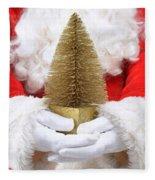 Santa Claus Holding Christmas Tree Fleece Blanket