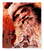 Santa Clause Vintage Poster A Joyful Christmas Fleece Blanket
