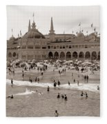 Santa Cruz Beach From Pleasure Pier  California Circa 1908 Fleece Blanket