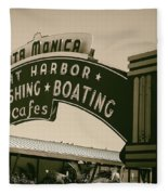 Santa Monica Pier Sign Fleece Blanket