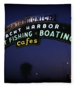 Santa Monica Pier Sign Fleece Blanket