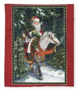 Santa Of The Northern Forest Fleece Blanket