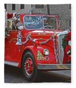 Santa On Fire Truck Fleece Blanket