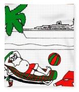 Santa On Vacation Fleece Blanket