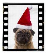 Santa Pug - Canine Christmas Fleece Blanket