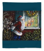 Santa's At The Window Fleece Blanket