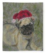 Santa's Little Pugster Fleece Blanket
