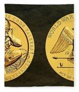 Santee Sioux Tribe Code Talkers Bronze Medal Art Fleece Blanket