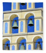 Santorini Bell Tower 2 Fleece Blanket