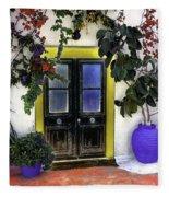 Santorini Doorway 2 Fleece Blanket