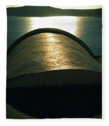 Santorini Lines By Night  Fleece Blanket