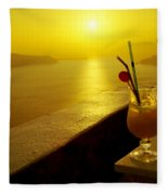 Santorini Sunset Fleece Blanket
