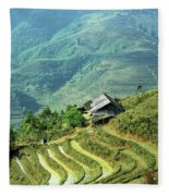 Sapa Rice Fields Fleece Blanket