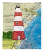 Sapelo Island Lighthouse Ga Nautical Chart Map Art Cathy Peek Fleece Blanket