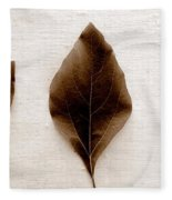 Sassafras Leaves In Sepia Fleece Blanket