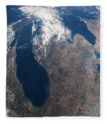 Satellite View Of Great Lakes Fleece Blanket