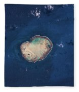 Satellite View Of Rocas Atoll In South Fleece Blanket