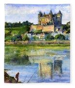 Saumur Chateau France Fleece Blanket