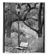 Savannah Afternoon - Black And White Fleece Blanket