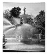 Savannah Fountain - Black And White Fleece Blanket