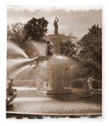 Savannah Fountain In Sepia Fleece Blanket