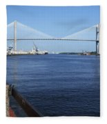 Savannah River Bridge Ga Fleece Blanket