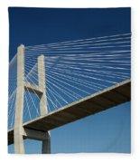 Savannah River Bridge Georgia Usa Fleece Blanket