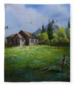 Sawtooth Mountain Homestead Fleece Blanket