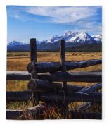 Sawtooth Mountains And Wooden Fence Fleece Blanket