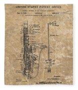 Saxophone Patent Design Illustration Fleece Blanket