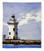 Saybrook Breakwater Lighthouse Old Saybrook Connecticut Fleece Blanket