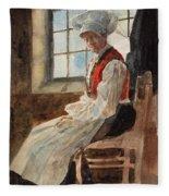 Scandinavian Peasant Woman In An Interior Fleece Blanket
