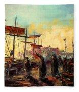 Scarborough Harbour Loading Fleece Blanket