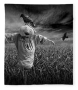Scarecrow And Black Crows Over A Cornfield Fleece Blanket
