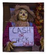 Scarecrow Holding Sign Fleece Blanket