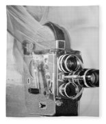 Scarf Camera In Black And White Fleece Blanket