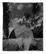 Scarf In The Winds In Black And White Fleece Blanket