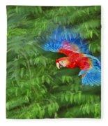 Scarlet Macaw Juvenile In Flight Fleece Blanket