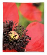 Scarlet Poppy Macro Fleece Blanket