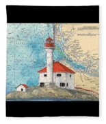 Scarlett Pt Lighthouse Bc Canada Chart Art Fleece Blanket
